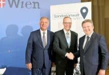 V.l.n.r.: Wirtschaftskammer-Wien-Präsident Walter Ruck, Wiener Standortanwalt Alexander Biach, Wiens Bürgermeister Michael Ludwig