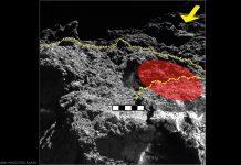 Untersuchte Region auf Ryugu: Nahaufnahme des von MASCOT untersuchten Steins: Der Gelbe Pfeil zeigt die Beleuchtungsrichtung, die gepunktete Linie trennt den beobachteten Stein vom Hintergrund. Das rot eingefärbte Gebiet zeigt den Teil des Steins, in dem vom Radiometer MARA die Oberflächentemperatur gemessen wurde, die gestrichelte Line zeigt einen Vorsprung im Stein. Der Maßstab in der Mitte des Bildes zeigt die Dimensionen in dieser Entfernung von der Kamera. Aufgenommen hat das Bild die DLR-Kamera MASCAM auf MASCOT.