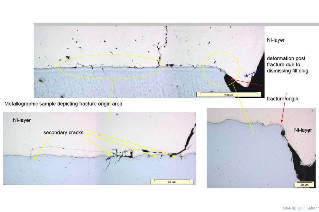 Abb. 5: Metallographische Aufnahmen vom Bruchausgang