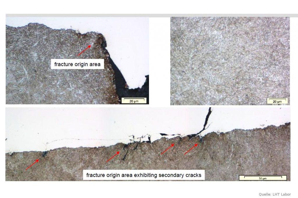 Abb 6: Rasterelektronenmikroskopische Aufnahme vom Bruchausgang