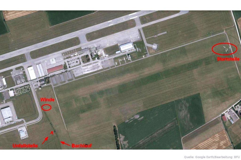 Flugplatzübersicht des Verkehrslandeplatzes Augsburg mit Startstelle, Windenposition und Unfallstelle