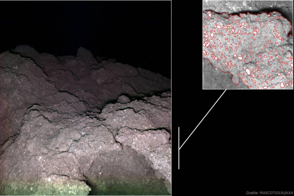 """Ryugu bei Nacht, """"Blumenkohlfelsen"""" mit hellen Mineralen: Rechts oben der vergrößerte Ausschnitt des Felssporns rechts unten im großen Bild, der sich etwa 25 Zentimeter vor MASCam befand."""