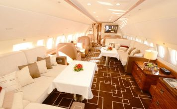 Die Kabine des Airbus Jet ACJ319 ist so breit und hoch wie bei einem Airliner.