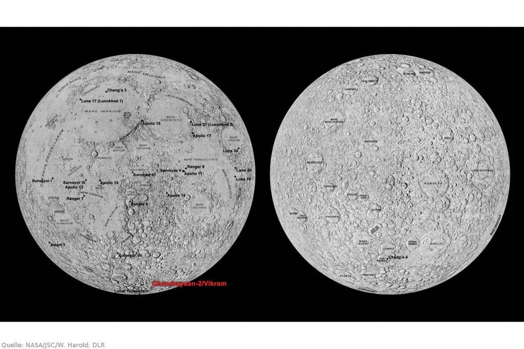 Die Landestelle von Vikram und alle bisherigen Mondlandungen