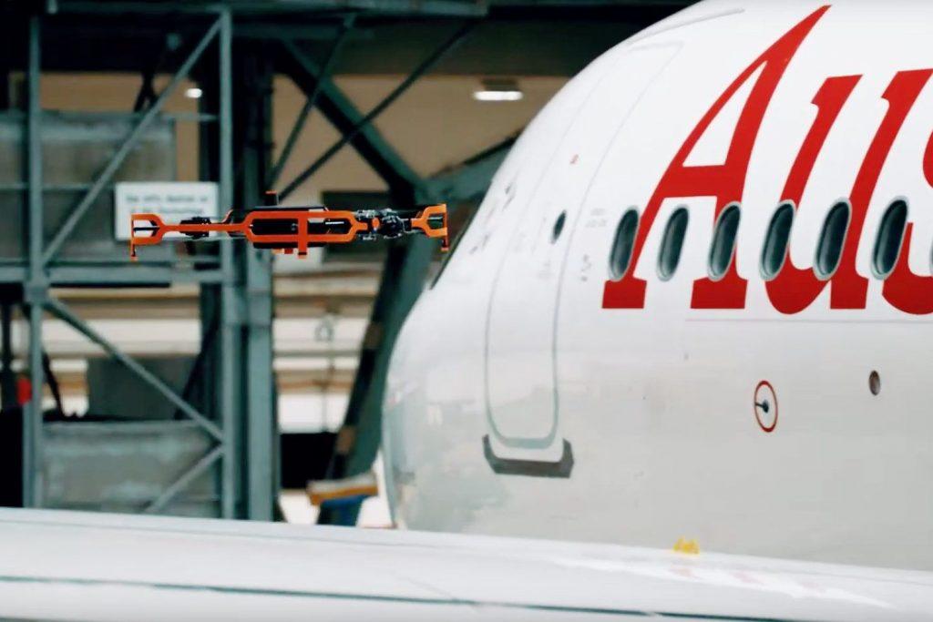 Drohne übernimmt Inspektion bei AUA-Airbus