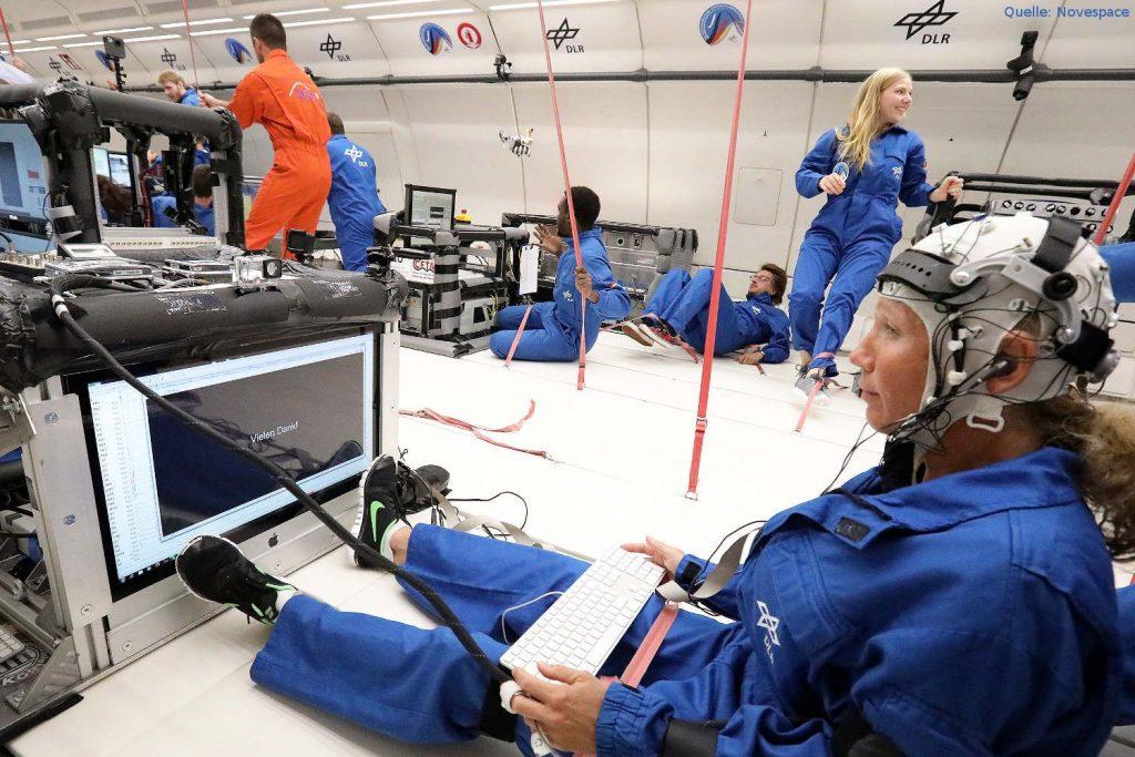 Neurocog-Experiment der Deutschen Sporthochschule in Köln: Wissenschaftler der Deutschen Sporthochschule Köln untersuchten bei der 34. DLR-Parabelflugkampagne, wie sich Schwerelosigkeit auf die kognitive Leistungsfähigkeit im All auswirkt.