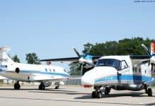 Falcon D-CMET und die Do228 D-CODE: DLR Forschungsflugzeuge Dornier DO228 D-CODE und Dassault Falcon 20E D-CMET vor dem Flugeinsatz für das Projekt ProSA-n. Beide Flugzeuge sind startbereit und mit den Messanlagen ausgerüstet. Die DO-228 trägt die Versuchssensorik für Sense & Avoid