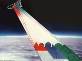 Künstlerische Darstellung des Radar Lab an Bord des Space Shuttle, die Endeavour im Rahmen der Shuttle-Radar-Missionen SIR-C/X-SAR 1994.