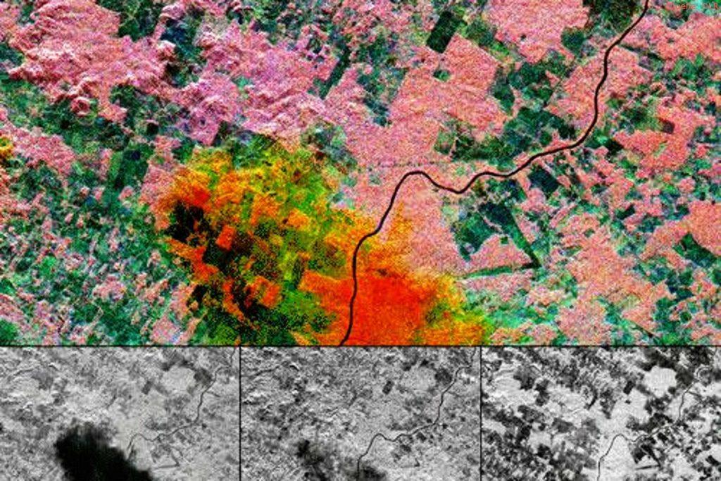 SIR-C/X-SAR-Aufnahme eines Starkregenevents in der Nähe von Manaus im Amazonas: Die Bilder in der unteren Reihe zeigen von links nach rechts, X-, C-, und L-Band. In der Überlagerung sind die Einzelbilder blau, grün und rot und kodiert. Dieses Beispiel zeigt die zunehmende Signaldämpfung durch den Regen mit Radarfrequenz im C-Band und X-Band, während das L-Band weitgehend unbeeinflusst ist.