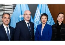 Secretary General Dr. Fang Liu mit Vladimir Voronkov (Bildmitte), Untersekretär der Antiterrorismusstelle UNOCT (UN Counter-Terrorism Office). Auch Michèle Coninsx, Executive Director des UN CTED (Counter-Terrorism Committee Executive Directorate) sowie John Brandolino, Director for Treaty Affairs