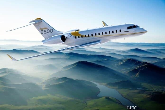 Bombardier Business Jet Global 5500 erhöht Reichweite