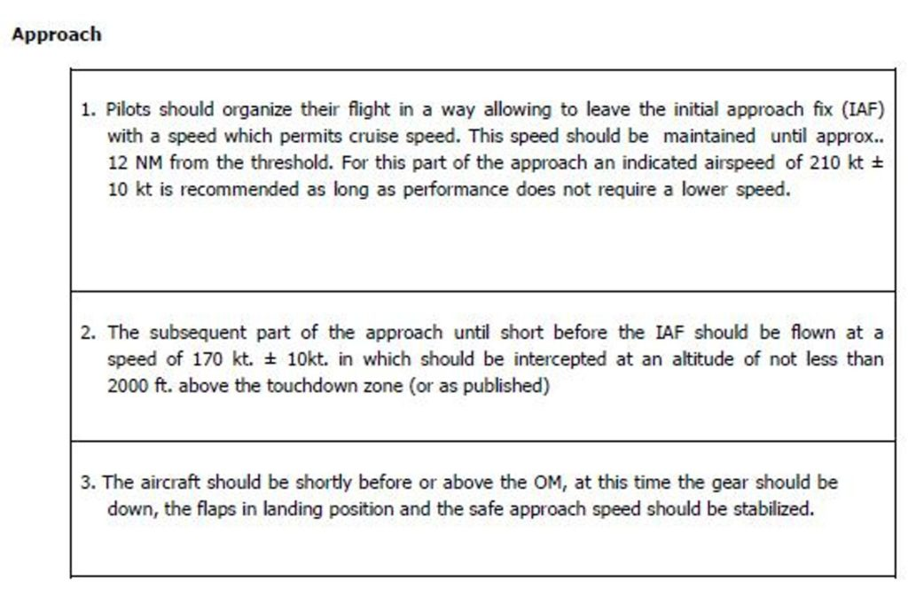 Im OM Teil B 2.1 (e) Noise Abatement sowie 2.1 (i) Instrument Approach waren Anflüge und ein ILS Approach wie hier beschrieben.
