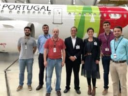 V.l.n.r.: Ricardo Gaspar (TAP/Fleet Engineer), Rui Santos (TAP/Cabin Engineer), Caetano Almeida (TAP/Fleet Engineer – Narrow Body coordinator), Anthony Medaglia (RECARO/Project Manager Customer Support), Violina Mikova (RECARO/Innovation Manager), André Simões (TAP/Fleet Manager), Eduardo Sanz Garcia (TAP/ Fleet Manager).