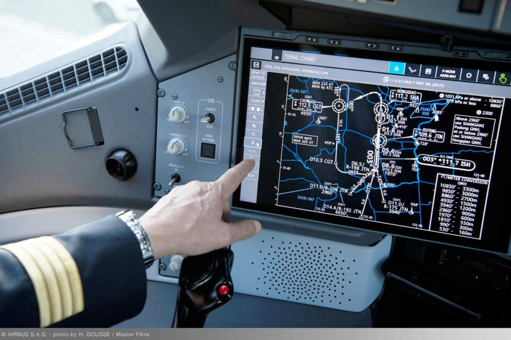 Airbus A350 XWB mit Touchscreen und Glas-Cockpit