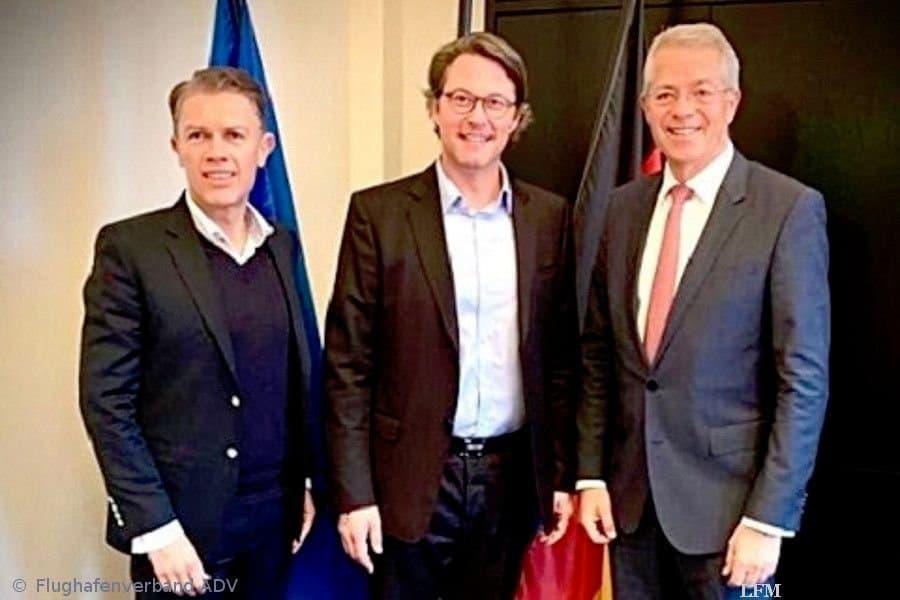Ralph Beisel, Bundesverkehrsminister Andreas Scheuer und Dr. Stefan Schulte, Präsident des Flughafenverbandes (v. l.)