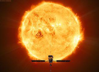 Künstlerische Darstellung der Sonde auf ihrem solaren Zielorbit: Die Sonde Solar Orbiter soll die Heliosphäre erkunden. Mindestens sieben Jahre lang soll die Sonde die Sonne auf einer elliptischen Bahn umrunden und auch Detailaufnahmen von deren Polarregionen liefern.