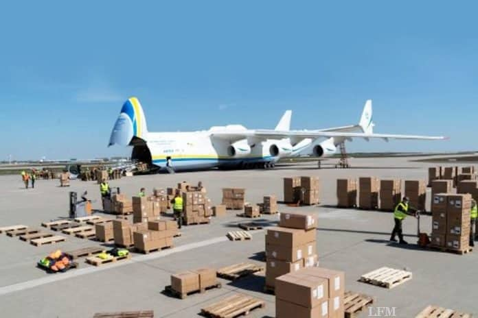 Antonov An-225 Mrija lieferte Schutzmasken aus China