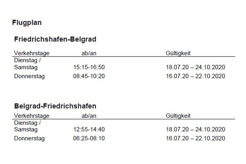 Wizz Air Flugplan Belgrad - Friedrichshafen