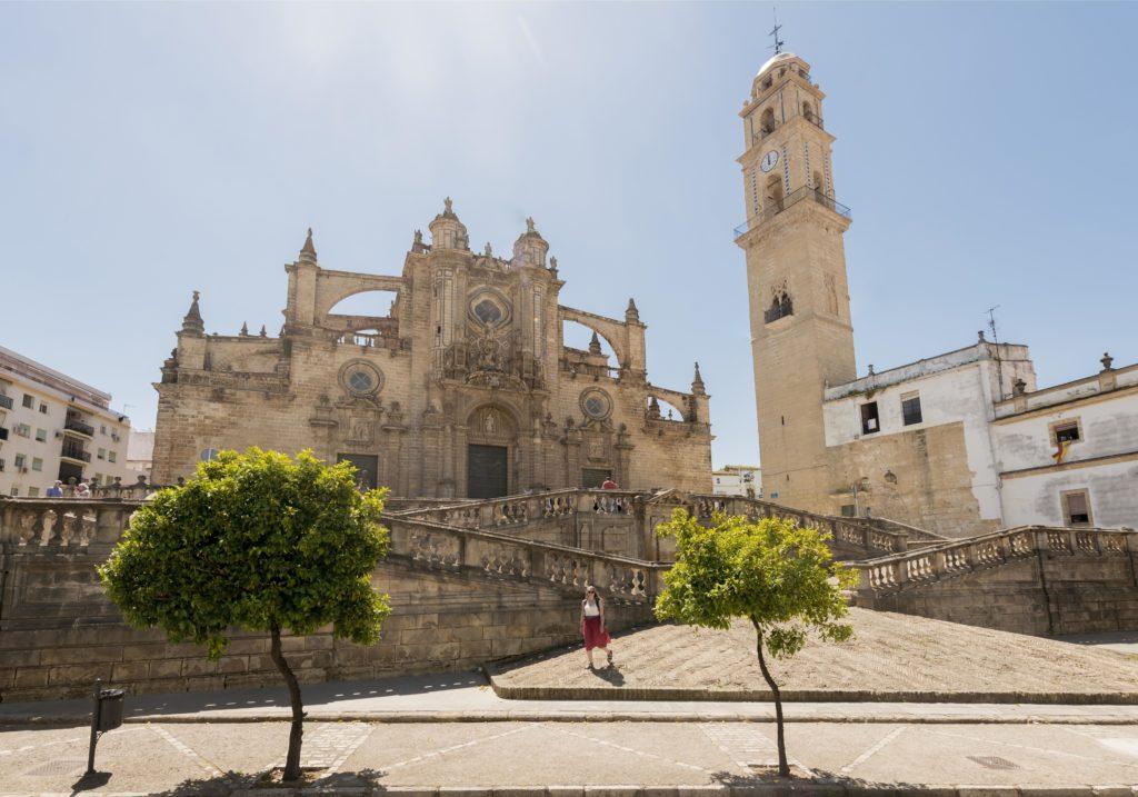 Katholische Kirche, Kathedrale von Jerez mit Turm, Jerez de la Frontera, Provinz Cádiz, Andalusien, Spanien, Europa