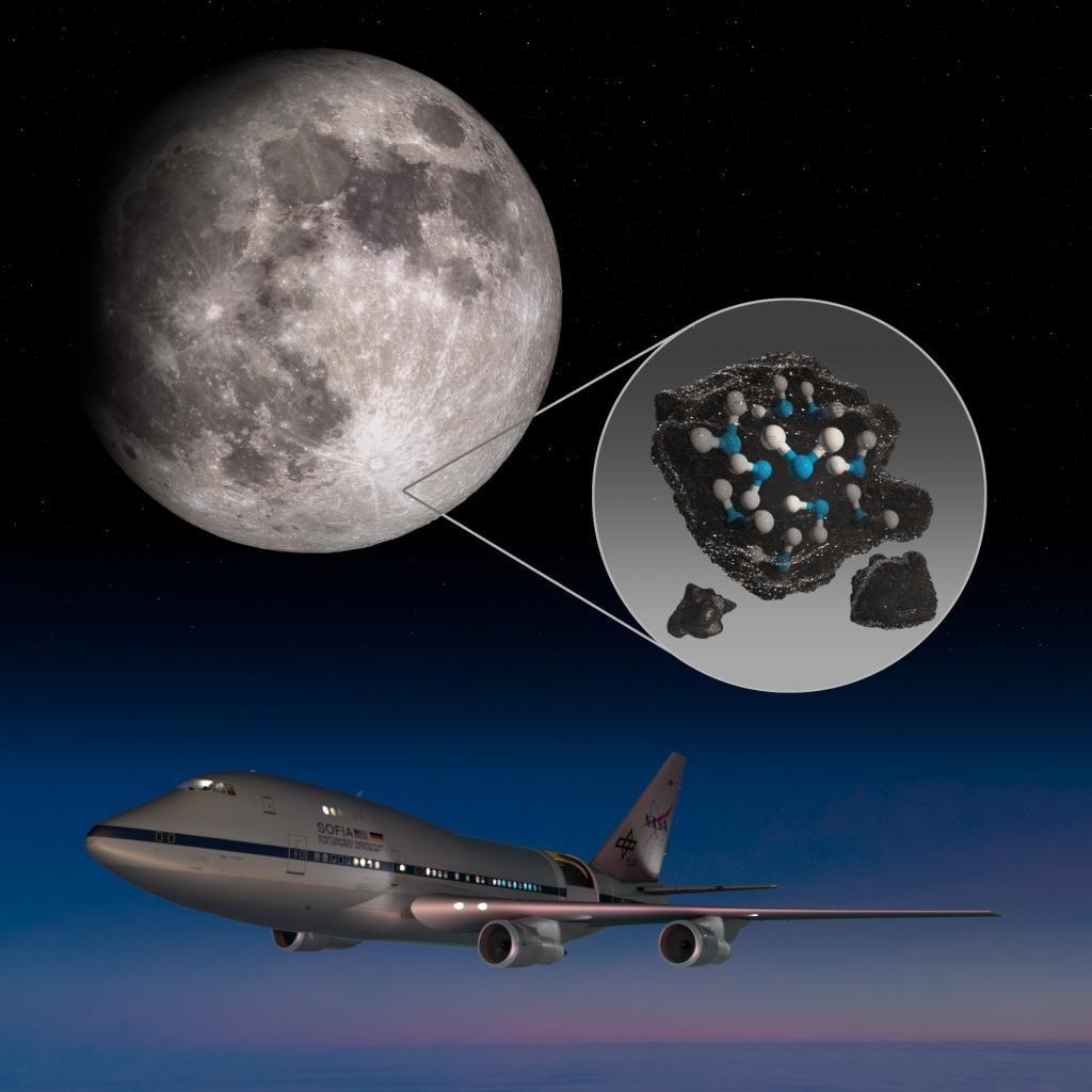 Illustration der Mondregion, in der SOFIA Wassermoleküle detektiert hat