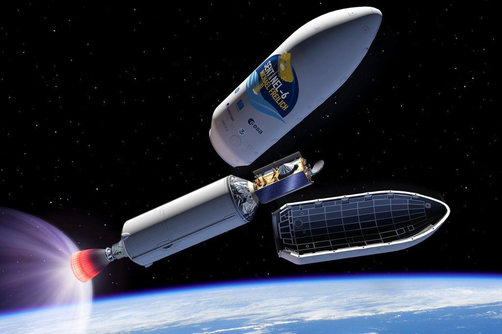 Aussetzen des Sentinel-Satelliten