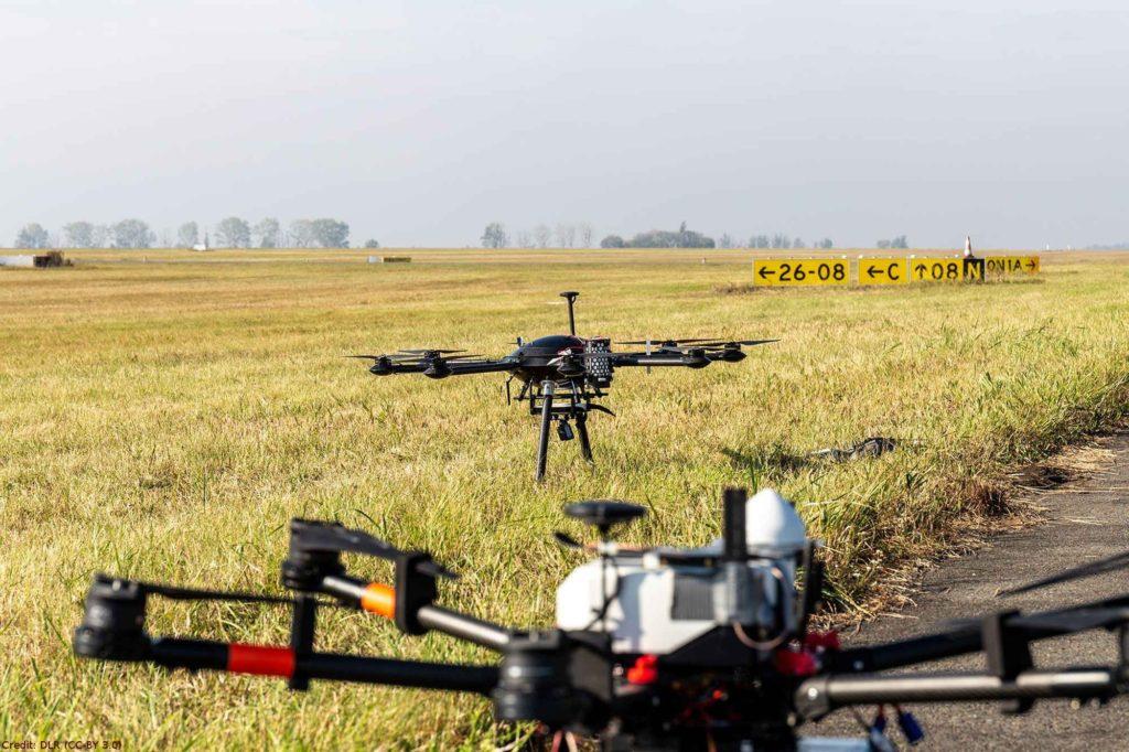 Drohne stoppt vor simulierter Gefahrenzone