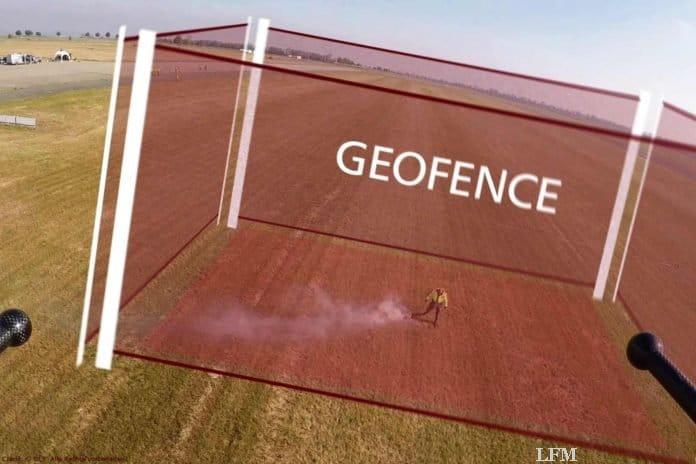 Aufnahme der Rauchfackel und Geofence-Illustration