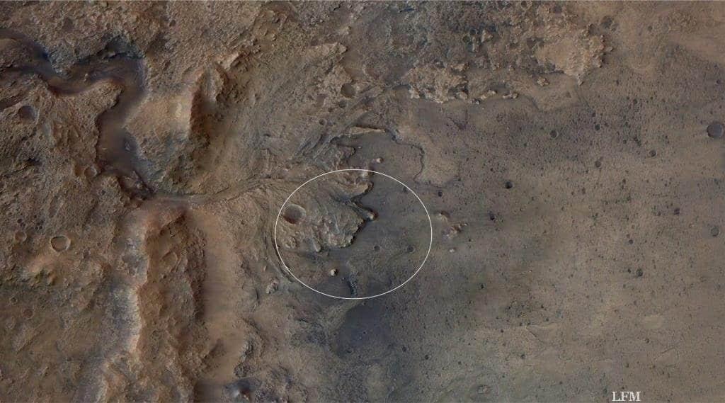 Mars 2020-Landeellipse im Kratzer Jezero