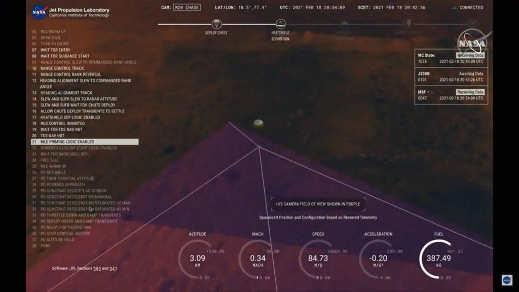 Landung des Rovers Perseverance der NASA auf dem Mars