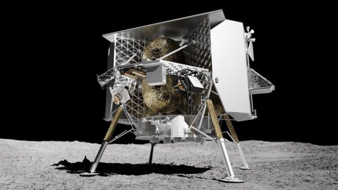 Peregrine-Lander von Astrobotic: Der Start für die Peregrine Mission One ist für Ende 2021 geplant. Der Peregrine Lander des US-Raumfahrtunternehmens Astrobotic ist etwa 1,90 Meter hoch und 2,50 Meter breit. Der M-42 Strahlungsdetektor wird an einer Seitenklappe befestigt.