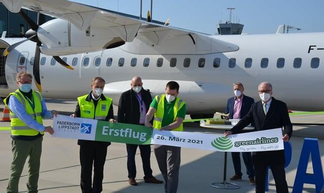 Premiere und feierliche Begruessung der neuesten deutschen Fluggesellschaft Green Airlines am Paderborn-Lippstadt Airport.