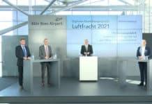 Branchengespräch Luftfracht 2021, v.l. Hoppe (BARIG), Vanneste (Cologne Airport), von Randow (BDL), Prümm (Fraport)