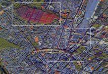 Mit RADIAN verarbeitete TerraSAR-X-Zeitserie über München: Mit RADIAN zu einem Falschfarbenbild verarbeitete TerraSAR-X Zeitserie über München, aufgebaut aus 50 Aufnahmen über ein Jahr. Rot: Über den Zeitraum sich verändernde Strukturen; Grün: Vegetation; Blau: Statische Strukturen.