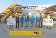 Flughafen Graz (v. li. n. re.): Wolfgang Grimus/EMBA, Geschäftsführer Flughafen Graz, DI Wolfgang Malik, Vorstandsvorsitzender der Holding Graz und Mag. Jürgen Löschnig, Geschäftsführer Flughafen Graz begrüßen die Crew der Eurowings.